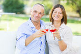Mature Couple Having an Aperitif Outdoor — Stock Photo