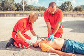 Rescue Team Providing First Aid — Foto Stock