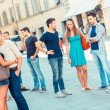 Friends Meeting in City Square — Stock Photo