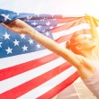 Beautiful Young Woman with USA Flag — Stock Photo #31487639