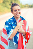 Beautiful Young Woman with USA Flag — Stockfoto