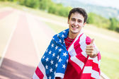 American Athlete with National Flag — Stock Photo