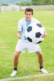 Soccer Player with Funny Big Ball — 图库照片