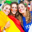 German, Spanish and Italian Supporters at Stadium — Stock Photo #31962979