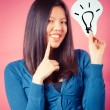 Chinese Woman with Idea Symbol — Stock Photo