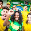 brasilian supporters at stadium — Stock Photo