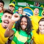 Brasilian Supporters at Stadium — Stock Photo