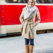 Young Woman at Tram Stop — ストック写真