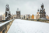 Snow Covered Charles Bridge in Prague — Stok fotoğraf