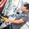 Young Man Filling His Car at Gas Station — Stockfoto