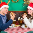 Young Couple Enjoying Christmas Dinner — Stock Photo