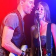 Man and Woman Playing and Singing Rock Music — Stock Photo