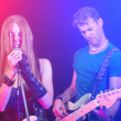 Man and Woman Playing and Singing Rock Music — Stock Photo #33769903