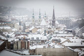 Snowy Rooftops in Budapest — Photo