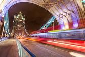 Traffic on Tower Bridge at Night — Stock Photo