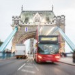 Traffic on Tower Bridge in London — Stock Photo