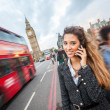Young Woman Talking on Mobile in London — 图库照片
