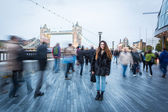 Young Woman in London at Rush Hour — Stock Photo
