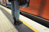 Woman Wearing Boots Waiting for Metro Train — Zdjęcie stockowe