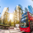 Famous Red Double Decker Bus in Canary Wharf District — Photo