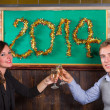 Young Couple Celebrating New Year — Stock Photo