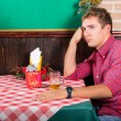 Lonely Man at Restaurant Waiting for the Girlfriend — Stock Photo