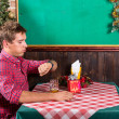Lonely Man at Restaurant Waiting for the Girlfriend — Foto Stock