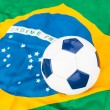 Brazilian Flag and Soccer Ball — Stock Photo