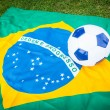 Brazilian Flag and Soccer Ball — Stock fotografie