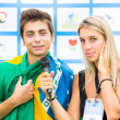 Brazilian Football Player Interviewed by a Journalist — Stock Photo #35018645