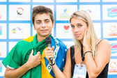 Brazilian Football Player Interviewed by a Journalist — Stock Photo