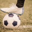 Soccer Ball and Player Foot — Stock Photo #35023399