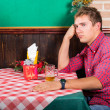 Lonely Man at Restaurant Waiting for the Girlfriend — Stockfoto