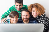 Group of Students with Computer — Stock Photo