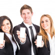 Business Team Holding Smartphone — Stock Photo