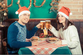 Young Couple Enjoying Christmas Dinner — Foto Stock