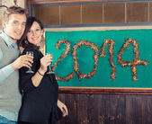 Young Couple Celebrating New Year — Stock Photo