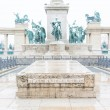 Stock Photo: Heroes Square in Budapest with Snow