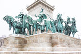 Heroes Square in Budapest with Snow — Stock Photo
