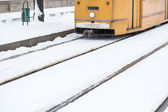 Snow Covered Tramway in Budapest — Stock Photo