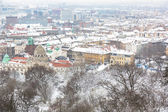 Snow Covered Houses in Budapest — Stock Photo