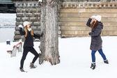 Dwie kobiety gry ze śniegu w zimie — Zdjęcie stockowe