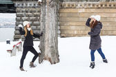 Two Women playing with Snow on Winter — 图库照片