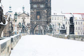 Snow Covered Charles Bridge in Prague — Stock Photo