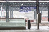 Prague Train Station during Snowfall — Stock Photo