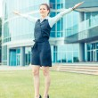 Successful Businesswoman in front Office Buildings — Stock Photo