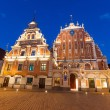 Stock Photo: Blackheads House in Riga at Night