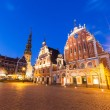 Blackheads House in Riga at Night — Stock Photo