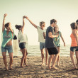 Group of Friends Having a Party on the Beach — Stock Photo #38169775