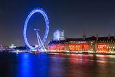 London Cityscape with Millennium Wheel at Night — Stock Photo